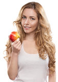 Woman With Apple Stock Photo