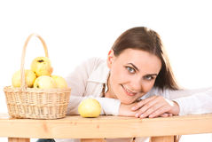Woman with apples. Stock Photos