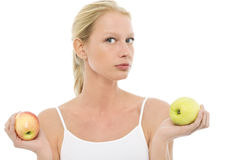 Woman with apples in the hands Stock Photography