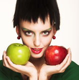 Woman with apples isolated on white Royalty Free Stock Images
