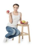 The woman with apples isolated on white background Stock Photo