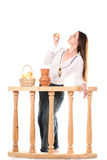Woman with apples and jug. Royalty Free Stock Photo