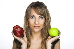 Woman with apples Royalty Free Stock Images