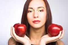 Woman with apples Royalty Free Stock Photo