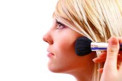 Woman Apply Blush Stock Image