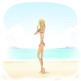 Woman apply sunscreen protection lotion cream Stock Images