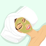 Woman applying acne treatment Stock Image