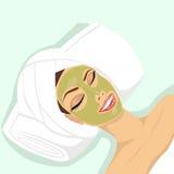 woman applying acne treatment stock illustration