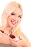 woman applying blusher Royalty Free Stock Photo