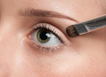 Woman applying cosmetic paint brush on eye zone Royalty Free Stock Photo