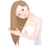 Woman applying hair oil to her long hair. Beautiful Young woman applying hair oil to her long hair.The file contains Gradients royalty free illustration
