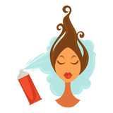 Woman applying hair spray. Vector illustration of female face with hair spray being applied on her hairstyle Stock Images