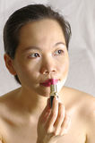 Woman applying lipstick on lips. View of woman applying lipstick on lips Stock Photography