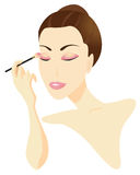 Woman Applying Make-up. Isolated on white background vector illustration