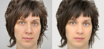 Woman before and after applying make-up and computer retouching Royalty Free Stock Photo