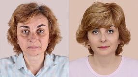 Woman before and after applying make-up and hairstyling Stock Images