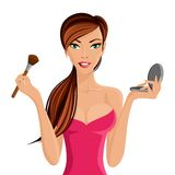 Woman applying makeup. Young beautiful woman applying makeup with brush and powder vector illustration vector illustration
