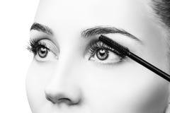 Woman applying mascara on eyelashes with brush. Young woman applying mascara on eyelashes with brush. Close-up Royalty Free Stock Photography