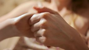 Woman applying moisturizing cream on her Hands. Manicure and Spa Manicure concept. Beauty nails. Soft skin, skincare. Concept stock video