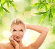 Woman applying organic cosmetics royalty free stock photo
