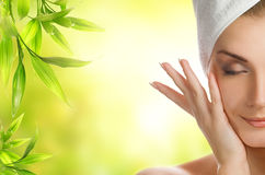 Woman applying organic cosmetics Royalty Free Stock Photo