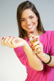 Woman applying perfurme on her wrist Stock Photography