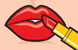 Woman applying red lipstick Stock Photos
