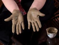Woman applying spa cosmetic clay cream Stock Photography
