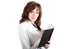 Woman with appointment calendar and pencil. Picture of a woman with appointmant calendar and pencil Royalty Free Stock Photos