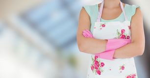 Woman in apron with brushes against blurry window Stock Photography