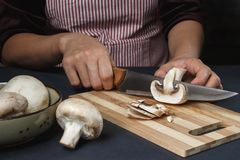 Woman in apron cuts mushrooms on a board with a knife royalty free stock images