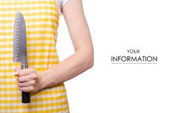 Woman in apron in hand knife pattern stock photography