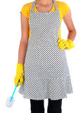 Woman in Apron Holding Cleaning Brush Stock Photos