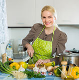 Woman in apron at home kitchen. Portrait of smiling housewife in apron at home kitchen Royalty Free Stock Image