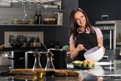 Woman in apron on modern kitchen Stock Photography