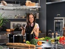 Woman in apron on modern kitchen Royalty Free Stock Photos