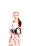 Woman with apron and pan  Royalty Free Stock Photography