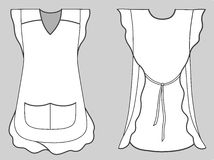 Woman Apron With Frills And Pockets Stock Photo