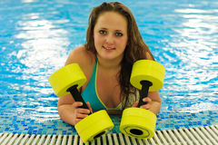 Woman in aqua aerobic Stock Image