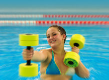 Woman in aqua aerobic Stock Photo