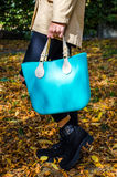 Woman with aqua bag Royalty Free Stock Images