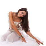 Woman arabic belly dancer in white costume Royalty Free Stock Images
