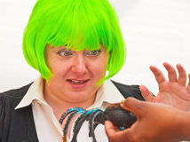 Woman with arachnophobia. Young woman with arachnophobia, fear of spiders, being desensitized, white background Stock Photography