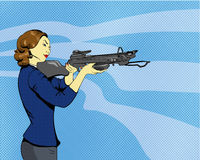 Woman with arbalest. Vector illustration in comics retro pop art style Stock Photography
