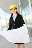 Woman Architect  with blueprints Royalty Free Stock Photos