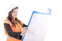 Woman Architect with blueprints Stock Image