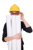Woman architect with blueprints on white Stock Photo