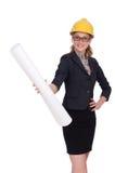 Woman architect with blueprints on white Royalty Free Stock Photos