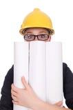Woman architect with blueprints on white Stock Photos