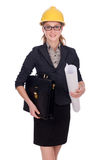 Woman architect with blueprints on white Royalty Free Stock Image